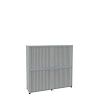 Roldeurkast, 4 ordnerhoogten, 2-delig, met middenwand, B 1600 mm, lichtgrijs