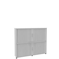 Roldeurkast, 4 ordnerhoogten, 2-delig, met middenwand, B 1800 mm, wit