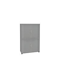 Roldeurkast, 4 ordnerhoogten, 2-delig, zonder middenwand, B 1000 mm, zilver