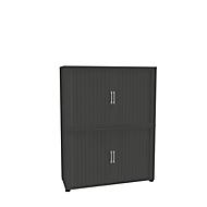 Roldeurkast, 4 ordnerhoogten, 2-delig, zonder middenwand, B 1200 mm, grafiet