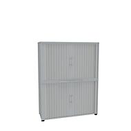 Roldeurkast, 4 ordnerhoogten, 2-delig, zonder middenwand, B 1200 mm, lichtgrijs