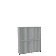 Roldeurkast, 4 ordnerhoogten, 2-delig, zonder middenwand, B 1350 mm, lichtgrijs