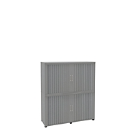 Roldeurkast, 4 ordnerhoogten, 2-delig, zonder middenwand, B 1350 mm, zilver