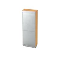 Roldeurkast 5 ordnerhoogten, B 800 x D 420 mm, beukenpatroon/zilver