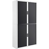 Roldeurkast, B 1100 x D 415 x H 2040 mm, afsluitbaar, zonder legborden, High Impact Polystyreen, wit/antraciet