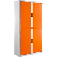 Roldeurkast, B 1100 x D 415 x H 2040 mm, afsluitbaar, zonder legborden, High Impact Polystyreen, wit/oranje