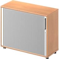 Roldeurkast met dwarse roldeur TETRIS WOOD, 2 ordnerhoogten, B 1000 mm, hoogte incl. glijders, beukenpatroon