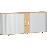 Roldeurkast met dwarse roldeuren Alicante, B 2000 x D 400 x H 828 mm, beukenpatroon
