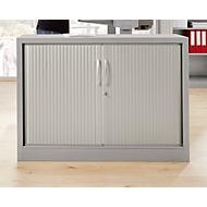 Roldeurkast MS iCONOMY, staal, 2 ordnerhoogten, B 1200 x D 400 x H 865 mm, wit aluminium RAL 9006