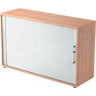 Roldeurkast TARVIS, 2 ordnerhoogten, B 1200 x D 400 x H 825 mm, afsluitbaar & stapelbaar, notenboom/aluminium zilver