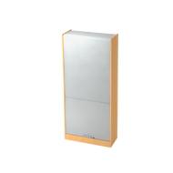 Roldeurkast TARVIS, afsluitbaar, 5 ordnerhoogten, B 900 x D 400 x H 2004 mm, beukenpatroon/aluminium zilver