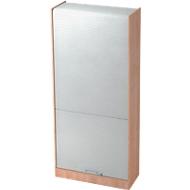 Roldeurkast TARVIS, afsluitbaar, 5 ordnerhoogten, B 900 x D 400 x H 2004 mm, notenboom/aluminium zilver