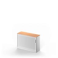 Roldeurkast TETRIS SOLID, 2 ordnerhoogten, B 1200 x H 818 mm, met legbord, beuken/blank aluminium