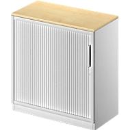 Roldeurkast TETRIS SOLID, 2 ordnerhoogten, B 800 mm, incl. 19 mm afdekplaat, esdoornpatroon/blank aluminium/blank aluminium