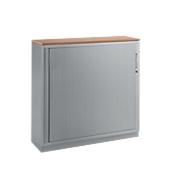 Roldeurkast TETRIS SOLID, 3 ordnerhoogten, B 1200 x D 413 x H 1170 mm, met legborden en afdekplaat, beuken/blank aluminium