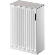 Roldeurkast TETRIS SOLID, 3 ordnerhoogten, B 800 mm, incl. 19 mm afdekplaat, lichtgrijs/blank aluminium/blank aluminium