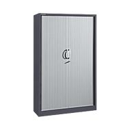 Roldeurkasten, 5 ordnerhoogten, B 1200 mm, grafiet/aluminium zilver