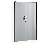 Roldeurkasten, 5 ordnerhoogten, B 1200 mm, wit/aluminum zilver
