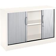 Roldeurkasten MS iCOLOUR, 2 ordnerhoogten, B 1200 mm, wit/aluminum zilver