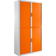 Rolladenschrank, B 1100 x T 415 x H 2040 mm, abschließbar, ohne Fachböden, High Impact Polystyrol, weiß/orange