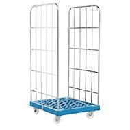 Rollbox, 2-seitig, Kunststoffbodenplatte, 724 x 815 x 1640 mm, blau (RAL 5012)