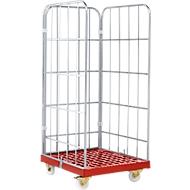 Rollbox, 3-seitig, Kunststoffbodenplatte, 724 x 815 x 1850 mm, rot (RAL 3000)