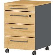 Rollcontainer Agenda Home, 4 Schubladen, B 420 x T 490 x H 610 mm, Graphit/Eiche