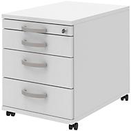 Rollcontainer BARI, Materialauszug, 3 Schubkästen, abschließbar, B 432 x T 577 x H 538 mm, weiß