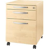 Rollcontainer Login, HR-Auszug+Utensilienauszug+Schublade, abschließbar, Holz, B 431 x T 580 x H 595 mm, Ahorn/Ahorn