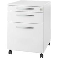 Rollcontainer Login, HR-Auszug+Utensilienauszug+Schublade, abschließbar, Holz, B 431 x T 580 x H 595 mm, weiß/weiß
