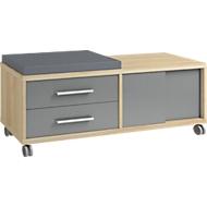 Rollcontainer Player, mit Sitzkissen, 2 Schubladen, 1 Schiebetür, Eiche/grauglas