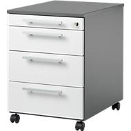 Rollcontainer SET UP, abschließbar, B 432 x T 580 x H 595 mm, graphit/weiß