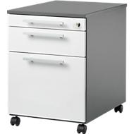 Rollcontainer SET UP mit HR, abschließbar, B 432 x T 580 x H 595 mm, graphit/weiß