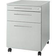 Rollcontainer Start UP 126, Utensilien-, Hängeregisterauszug, Schublade, abschließbar, B 432 x T 580 x H 595 mm, lichtgrau/lichtgrau