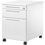 Rollcontainer Start UP 126, Utensilien-, Hängeregisterauszug, Schublade, abschließbar, B 432 x T 580 x H 595 mm, weiß/weiß