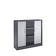 Rollladenschränke, 3 Ordnerhöhen, B 1200 mm, graphit/alusilber
