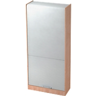 Rollladenschrank TARVIS, abschließbar, 5 Ordnerhöhen, B 900 x T 400 x H 2004 mm, Nussbaum-Dekor/alusilber