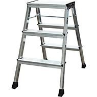 Rolly dubbele inklapbare trap, 2 x 3 treden, aluminium kleur