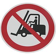 Rond waarschuwingsbord voor op de grond: Heftrucks verboden