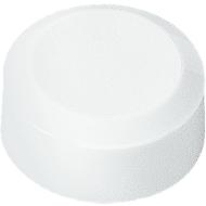 Ronde magneten MAUL, kunststof & metaal, fijne structuur, hechtkracht 170 g, Ø 15 x 7,5 mm, wit, 20 stuks