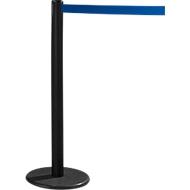 RS-GUIDESYSTEMS® Gurtpfosten GLA 28, inkl. Bodenteller Ø 330 mm & Gurtkassette 2,3 m Auszug, 1 Stück, Gurt blau