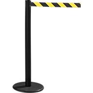 RS-GUIDESYSTEMS® Gurtpfosten GLA 28, inkl. Bodenteller Ø 330 mm & Gurtkassette 2,3 m Auszug, 1 Stück, Gurt schwarz/gelb