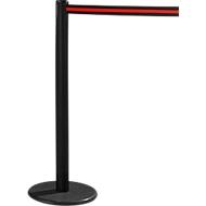 RS-GUIDESYSTEMS® Gurtpfosten GLA 28, inkl. Bodenteller Ø 330 mm & Gurtkassette 2,3 m Auszug, 1 Stück, Gurt schwarz/rot