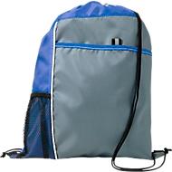 Rucksack-Beutel Mondo, 210D-Polyester, mit Kordelzug, mit Vordertasche und Netzfach, blau