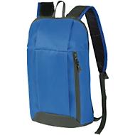 Rucksack DANNY, Kunststoff, Reißverschlussfächer, gepolstert, Werbedruck 70 x 100 mm, blau/grau