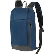 Rucksack DANNY, Kunststoff, Reißverschlussfächer, gepolstert, Werbedruck 70 x 100 mm, dunkelblau/grau