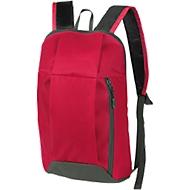 Rucksack DANNY, Kunststoff, Reißverschlussfächer, gepolstert, Werbedruck 70 x 100 mm, rot/grau