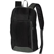 Rucksack DANNY, Kunststoff, Reißverschlussfächer, gepolstert, Werbedruck 70 x 100 mm, schwarz/grau