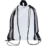 Rucksack Glitterbag, aus 190T Polyester, mit Kordelzug und reflektierenden Streifen, weiß