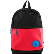 Rucksack YOUNG, 600D Kunststoff, Reißverschlussfach, Kopfhöreröffnung, gepolstert, rot